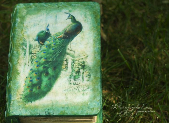 декупаж шкатулка-книга павлин восток